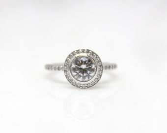 Platinum Bezel Set Diamond Engagement Ring Setting  Bride Wedding Halo