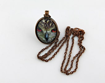 Owl Necklace, Photograph Necklace, Vintage Copper, Bird Necklace