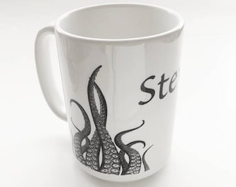 Tentacles Mug Custom Name 15 oz Octopus masculine gift goth kitchen decor cthulhu kraken ocean beach nautical coastal boss coworker man guy