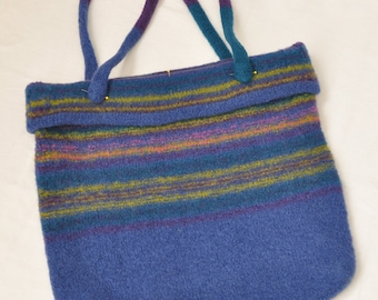 Cuffed Tote Market Book Bag - Felted Wool
