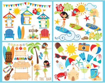 Clipart Bundle - Surf's Up / Ocean / Surfing / Beach - Digital Clip Art (Instant Download)