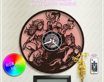 Harley Quinn Wooden Clock| DC Comics Clock| Poison Ivy Wooden Clock with Led Backlight| Batman Gift| Wall Clock *w067 Catwoman Clock
