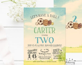 Sports Birthday Invitation, Let's Have a Ball Basketball Baseball Soccer Park Birthday Boy Birthday Photo Invitation Printable No.719KIDS