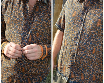 Stunning Men's Handmade Lined Sari Material Button Down Dress Shirt - Short or Long Sleeves - Slate Blue Orange Paisley - Taha I924