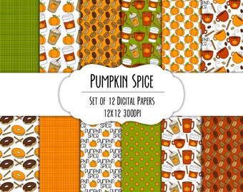Pumpkin Spice Hand Drawn Digital Paper - Set of 12 - Coffee Mugs, Latte, Pumpkins, Donuts - Instant Download - Item #8284