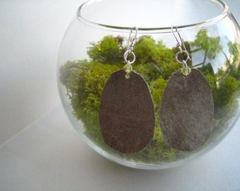 SALE: Icelandic wolf fish skin leather and swarovski earrings, grey