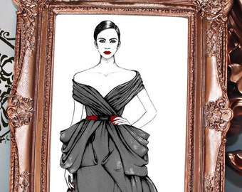 Black Ballgown, Ralph & Russo Fashion Illustration, Couture illustration, Runway Art, Vogue Illustration, Bedroom Home Décor