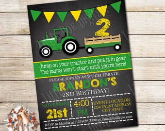 Personalized Tractor Birthday Party Invitation - Digital File or Printed Copies - Printable - Invitation - Invite  5x7 or 4x6 - Green Yellow