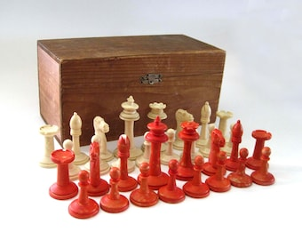 SPRING SALE:  German Chess Set, Hand Turned, Antique, English Staunton Pattern, Red & White, Primitive Pine Wood Box, Man Gift Idea