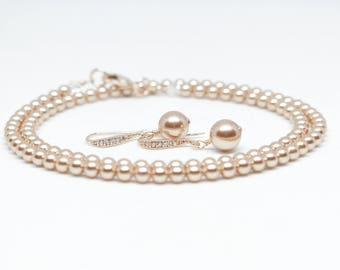 Swarovski Rose Gold Pearl Necklace and Earring Set - Wedding Jewelry for Brides, Bride Jewelry, Swarovski Pearl Earrings, Rose Gold Earrings