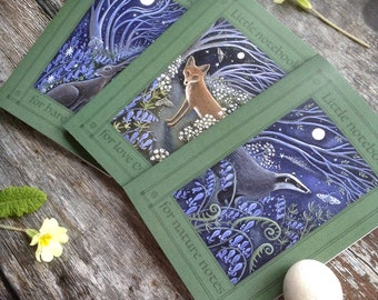 Little Nature Notebooks x3. A6/C6 size/ Hare /Fox/ Badger/ 36 Plain Pages By Karen Davis