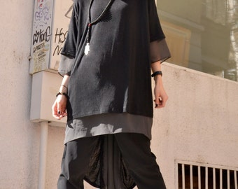 NEW  Black  TENCEL  / Grey chiffon   Loose Extravagant Shirt / Asymmetric shirt / Oversize Summer Top by Aakasha A12117