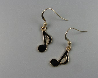 Musical Note Earrings - Black and Gold Music Jewelry - Music Gifts With Eighth Note