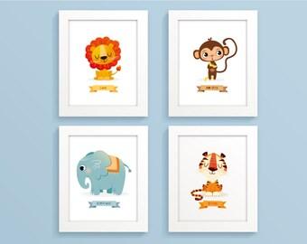 Zoo Animal Nursery Prints Safari animals Jungle animal print Safari animal set Lion Monkey Elephant Tiger Childrens art print baby Boys room