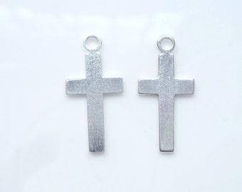 2 PCS Sterling silver cross charm 20x10mm),