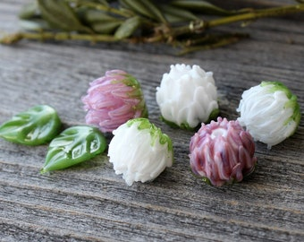 Lampwork Clover Flower Beads, Made to order, Сolor Clover Flower Beads to Сhoose, Glass Flowers Beads