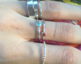 Tiny gem stacker in Sterling Silver   Red Coral or Turquoise