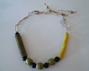 Crochet necklace Beaded Necklace Autumn necklace Handmade Necklace Bib necklace