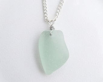 Wire Wrapped Seafoam Sea Glass Necklace, Coke Bottle Green Chesapeake Bay Beach Glass Jewelry, Large Seaglass Pendant