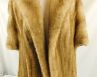 Vintage 1950s 1960s Honey Brown Mink Jacket Wrap Small Medium Flemington Furs New Jersey Soft Stole Coat Evening Wear Bridal Formal Dress