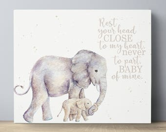 Elephant Baby Wall Decor - Nursery Elephant Wall Decor - Baby Wall Art Elephant - Watercolor Elephant Nursery- Baby Mine- Nursery Art Canvas