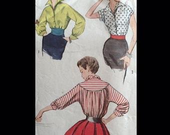 Vintage 50s Wing Collar Topstitched Round Yoke Cummberbund Button Front Blouse Top Sewing Pattern 4237 B38