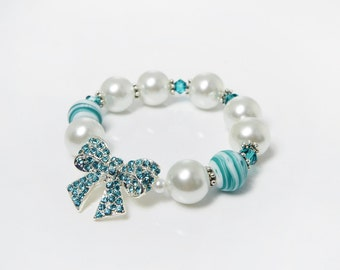 White Pearl Bridesmaid Bracelet, Bow Bracelet, Maid of Honor Bridesmaids Gift, Faux Pearl Stretch Bracelet, Aqua Bow, Turquoise Crystal Bow