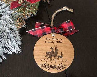 Personalized Family Ornament, Christmas Gift, Custom name ornament, Engraved family ornament, Deer family ornament, Engraved custom ornament