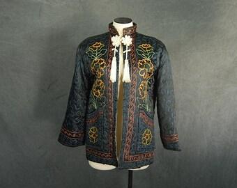 vintage 40s Asian Lounge Jacket - 1940s Quilted Bed Jacket - Black Satin Embroidered Jacket Sz L