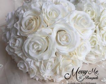 White Rose Bouquet - Rose Bouquet - Tea Rose Bouquet - Real Touch Rose Bouquet - Real Touch Roses Bouquet - Bridesmaid Bouquet