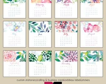 2018 Desk Calendar - Watercolor Garden with Clear Case