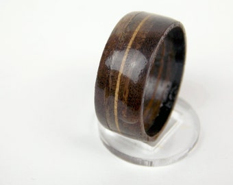 Wooden Ring Made from Walnut with Maple Band