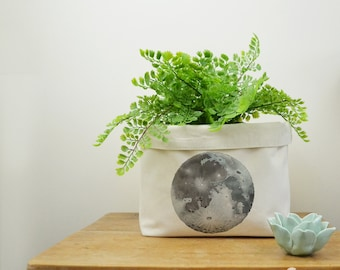 Moon Storage Box, Storage Solution, Storage Basket, Fabric Basket, Fabric Organiser, Storage Bin, Nursery Storage, Moon Gift