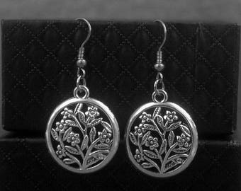 Flower Earrings -Floral Earrings -Silver Dangle Earrings -Everyday Jewelry -With Gift Box