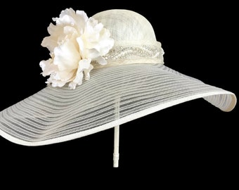 """Women's Kentucky Derby Hat, Wedding Party Hat, Easter Hat, Spring Fashion Hat, Bridal Luncheon Hat In Tonal  - """"Newport Beach Bling"""""""