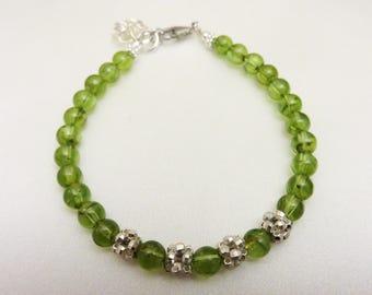 August Birthstone Bracelet, Peridot Bracelet, Natural Green Gemstones With Sterling Silver Bracelet,  Greenstone Bracelet, Dainty Bracelet