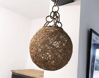 Hanging chandelier ball rattan wicker Vintage Bohemian 70's