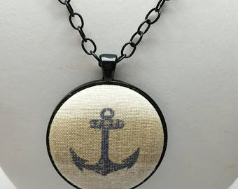 Anchor Stamped Fabric Button Necklace