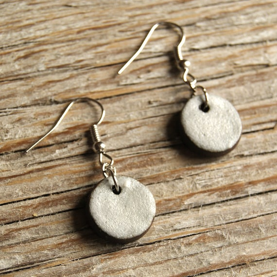 SMALL matte white round stoneware drop earrings