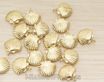 PDT1242-RB // Raw brass Scallop Seashell Pendant, 2 Pc