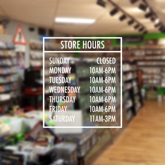 Store front hours sign business vinyl decal hours of
