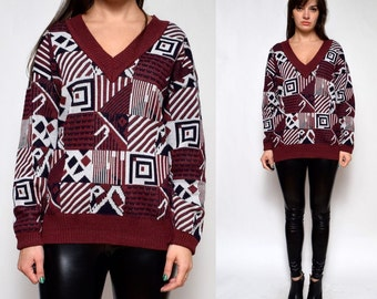 Vintage 80's Burgundy Geometric Sweater