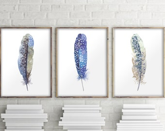 Printable art, Set of 3 prints, Feather print, Bohemian decor, Watercolor feather wall art decor, Feather poster decor, Home decor BD-992