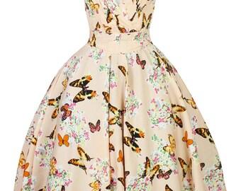 Sarah-P butterfly vintage 50's retro rockabilly swing dress