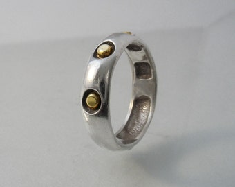 Golden Nuggets Ring - sterling silver ring with gold nuggets