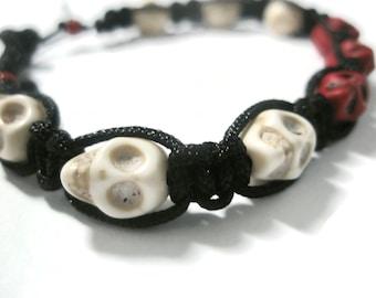 Jewellery Halloween Skull day of the dead Macramé Black Red adjustable Bracelet