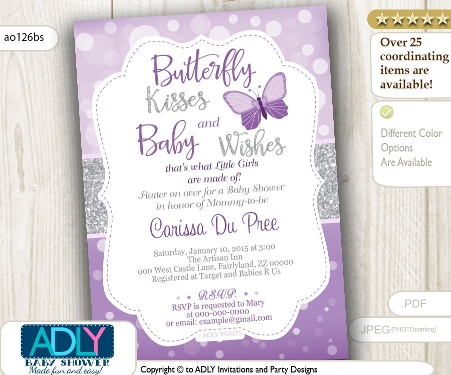 Butterfly Kisses and Baby Wishes Invitation for Baby Shower