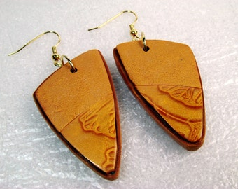 Gingko Leaves Polymer Clay Earrings B, Mica Shift Necklace, Jewelry, Polymer Clay Necklace, Gold Necklace, Mom Gift, Gift for Her, Textured