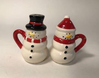 Vintage Snowman Salt and Pepper Shaker Set Ceramic Plugs Holiday Christmas