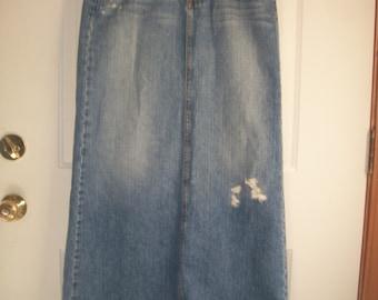 Vintage 90's Denim Maxi Skirt, Distressed Denim Skirt, Long Jean Skirt, Size 7